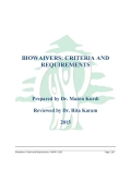 Biowaivers: Criteria and Requirements
